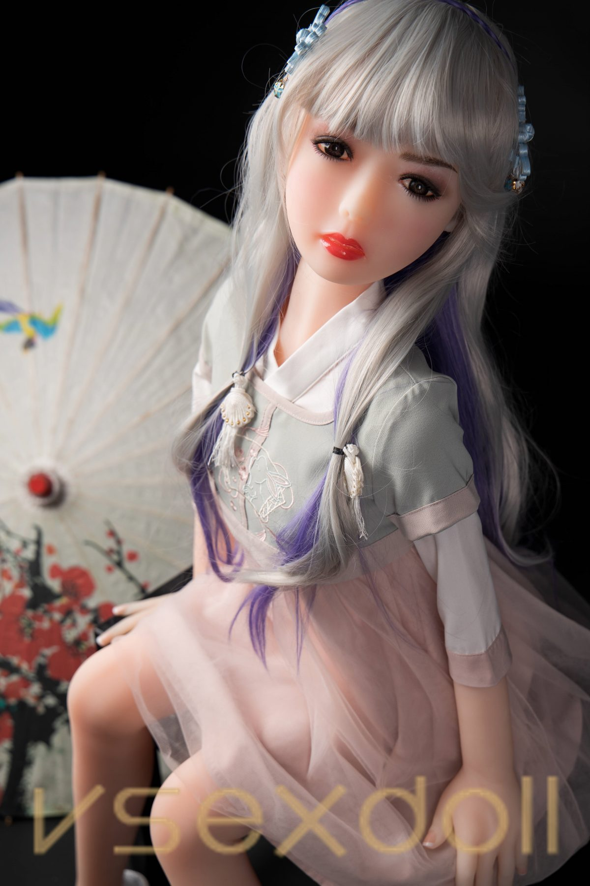 YB-00071 125cm White Hair Blonde Skin Antique Mini Sex Doll