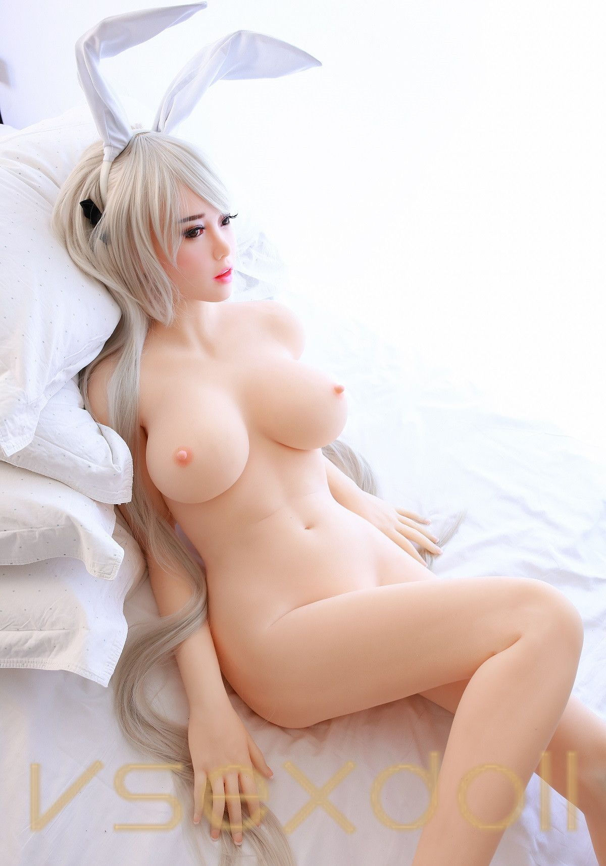 165cm White Long Hair Cute Cosplay Girl With Big Breasts Blonde Sex Doll