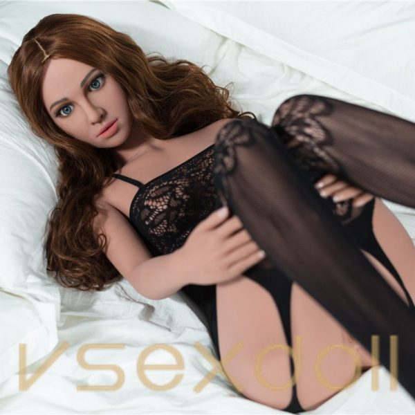 155cm Lora Brown Hair Small Breast Lace Big Eyes Pure Black Sex Doll