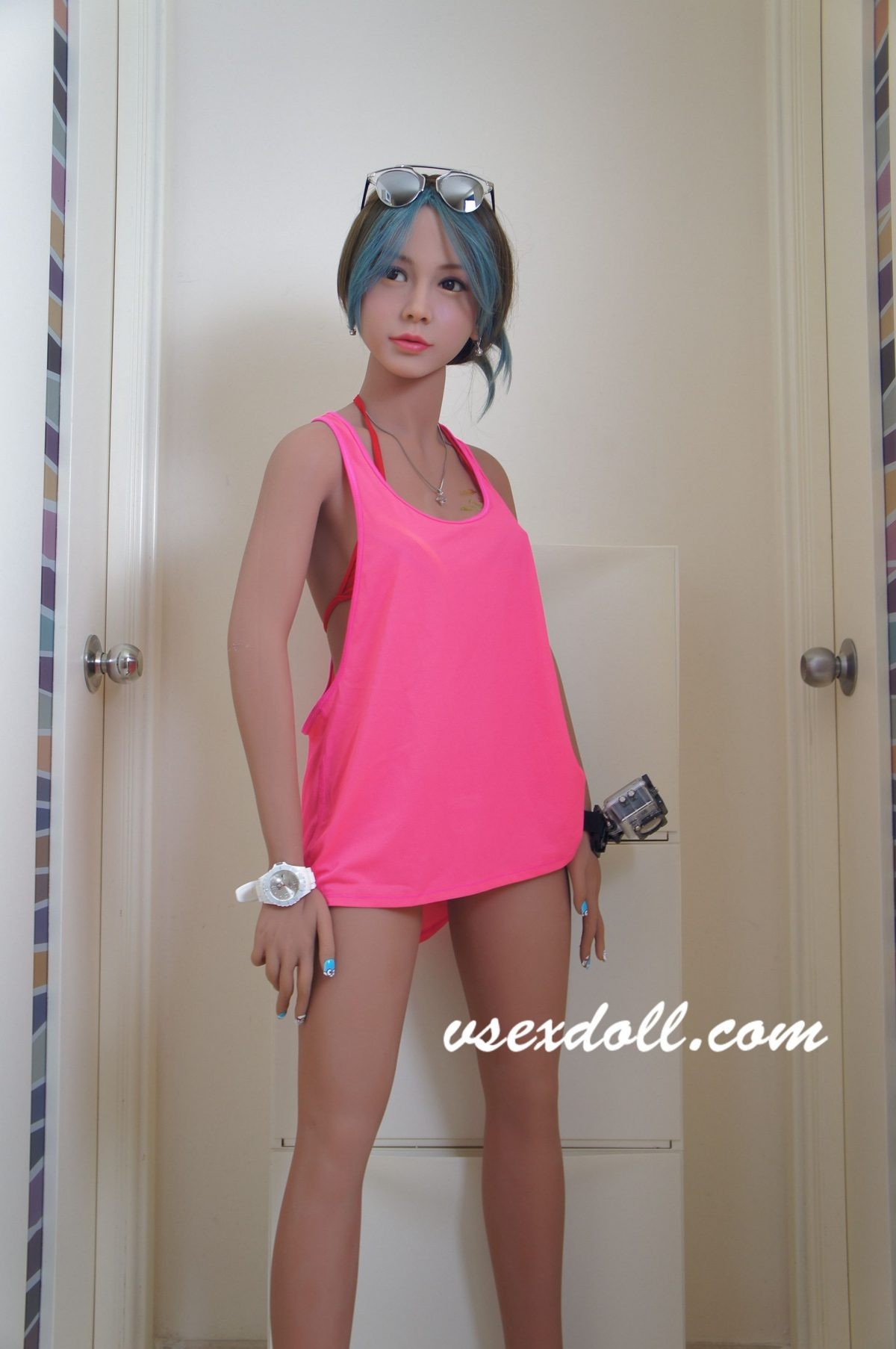 Sunglasses Girl With Blue Black Hair And Cute Little Breasts Black Sex Doll