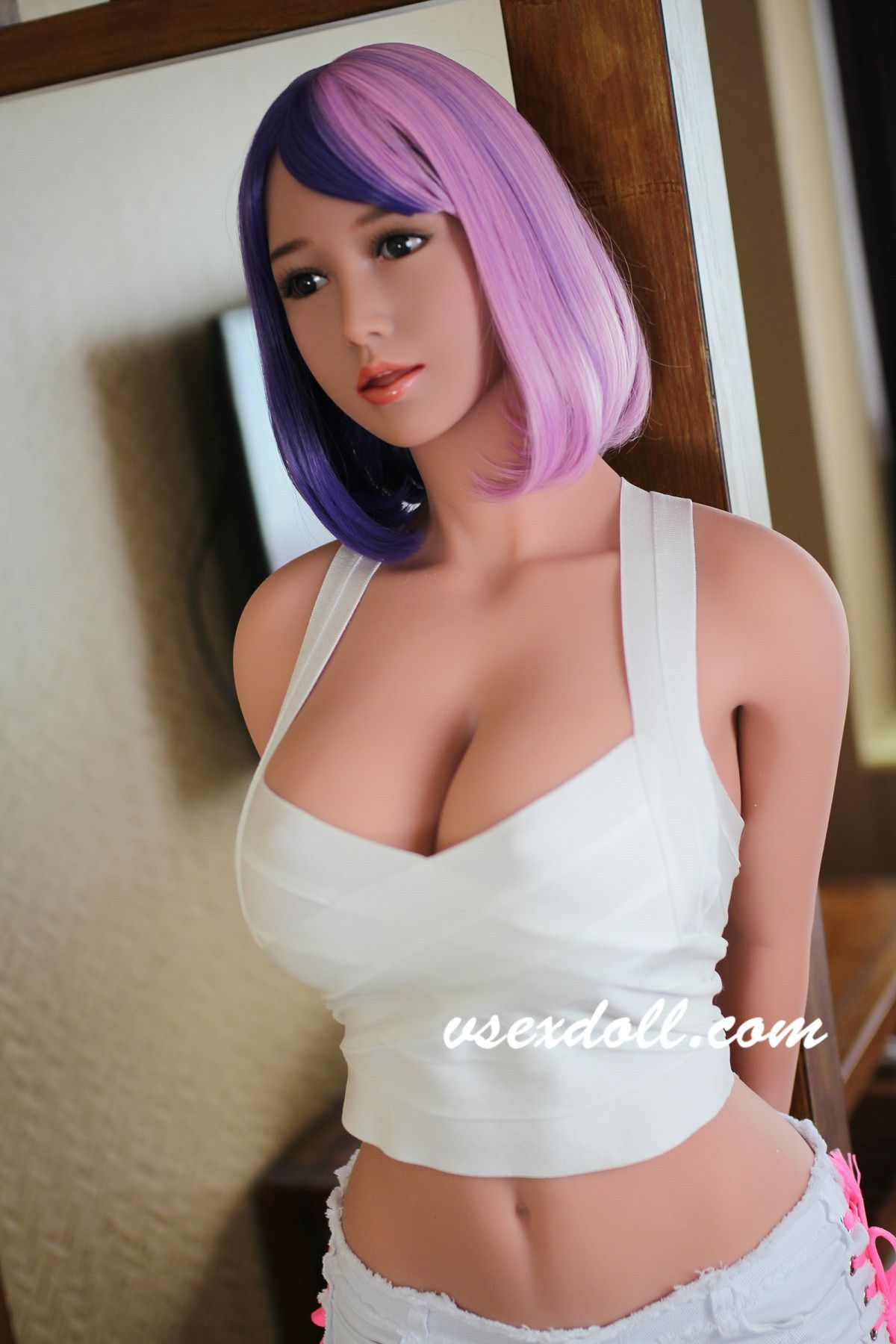 Sexy Blue-Purple Hair And Cute Big Breasts Black Sex Doll