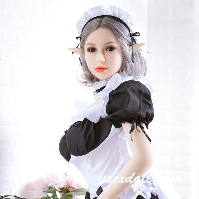 158cm Gray Short Hair Maid Dress Cute Elf Sex Doll