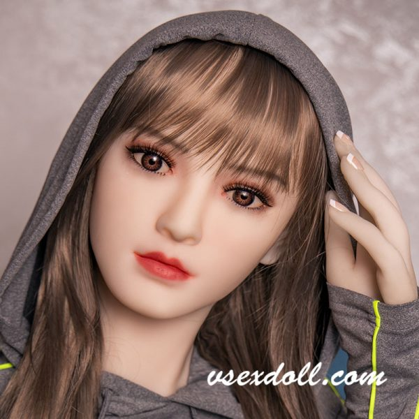 Long Brown Hair Cute And Delicate Sex Doll Head